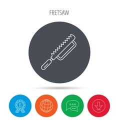 Fretsaw icon Carpenter work tool sign vector image