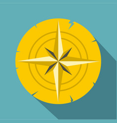 Gold ancient compass icon flat style vector