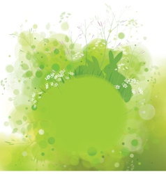 green background rabbit vector image vector image