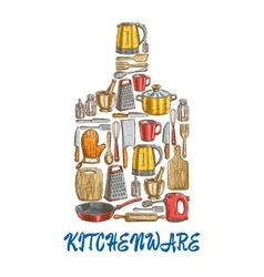 Kitchen utensils and kitchenware emblem vector image