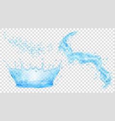 light blue water crown drops and splash of water vector image vector image
