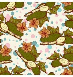seamless pattern with fresh green cucumbers vector image