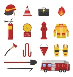 Set firefighter safety flat icons vector