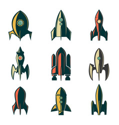 Set of the rockets icons design element for logo vector