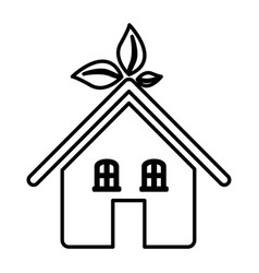 Silhouette of ecological house icon flat vector