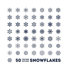 Snowflakes outline icons set for new year card vector image