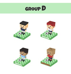 Soccer block isometric cartoon character vector