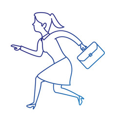 Successful businesswoman with portfolio avatar vector