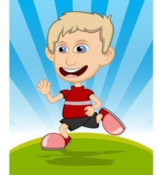 The boy running and laughing cartoon vector image
