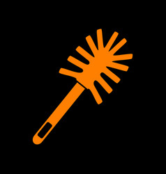 toilet brush doodle orange icon on black vector image