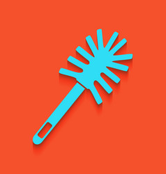 Toilet brush doodle whitish icon on brick vector