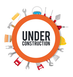 Under construction poster tools repair build vector
