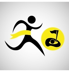 winner silhouette sport golf icon vector image vector image