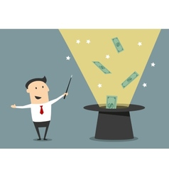 Wizard businessman with magic hat and money vector image