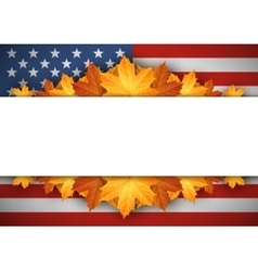 American flag banner autumn leaves background vector