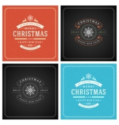 Christmas typography greeting cards design set vector