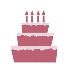 Pink cake with candles vector