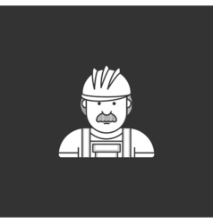 Contour icon builder in helmet and overalls vector