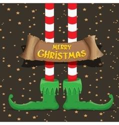 merry christmas card with cartoon elfs legs vector image