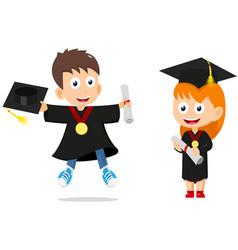 Happy graduates kids cartoon vector