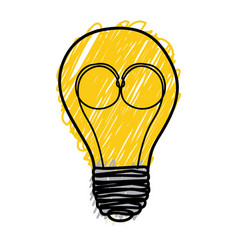 Yellow pencil drawing background of light bulb vector