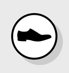 men shoes sign  flat black icon in white vector image