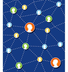 Social network connection diagram vector