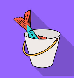 Fish in the bucket icon in flat style isolated on vector