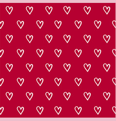 Seamless pattern with hand draw hearts vector