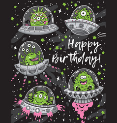 Happy birthday card with fantastic creatures vector