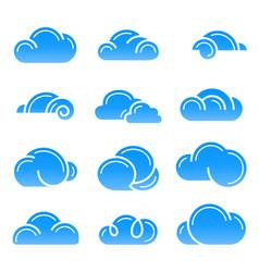 cloud logo symbol sign icon set design vector image