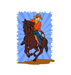 Cowboy on horse with lasso vector