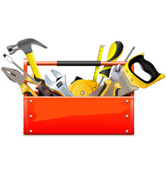 Red toolbox with hand tools vector