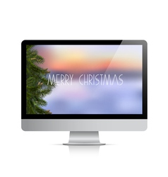Computer display with christmas background vector
