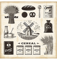 Vintage cereal set vector