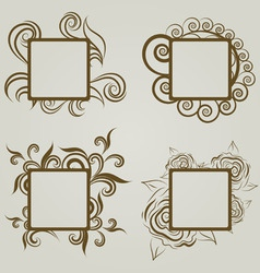 Vintage frames autumn leaves vector