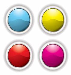 white bevel button vector image