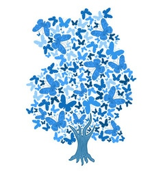 Blue tree from butterflies vector