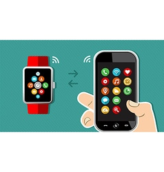 Hand holding mobile phone and smart watch design vector image
