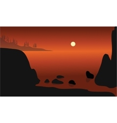 Beautiful rock in beach silhouette vector