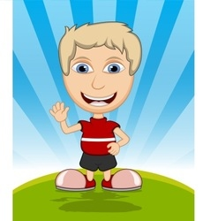 The boy laughing and waving his hand cartoon vector