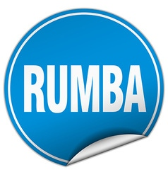Rumba round blue sticker isolated on white vector