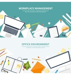 Workplace with table and computer computer vector