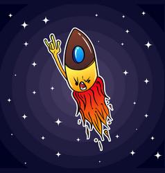 a small rocket similar to a bullet flies through vector image
