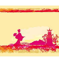 abstract Asian Landscape and beautiful Asian vector image vector image