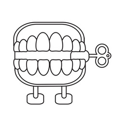 April fools day chattering teeth thin line vector