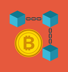 blockchain bitcoin currency crypto digital vector image