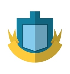 Blue shield yellow ribbon badge shadow vector