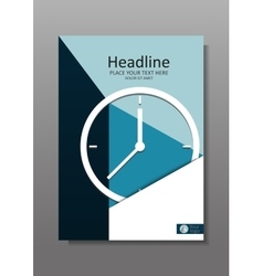 Business Cover design A4 with clock vector image