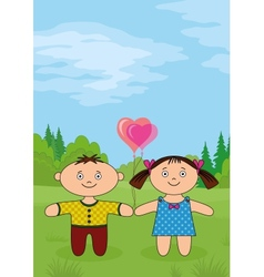 Children on forest glade vector image vector image
